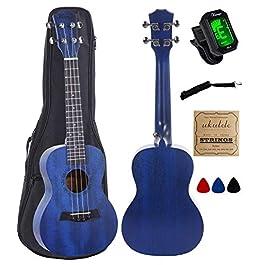 Vizcaya UK23C-BU Concert Ukulele Mahogany 23 inch with blue stain finish with Ukulele Accessories, Gig Bag, Strap, Nylon…