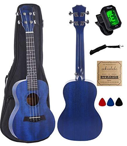 - Concert Ukulele Mahogany 23 inch with blue stain finish with Ukulele Accessories, Gig Bag, Strap, Nylon String, Electric Tuner, Picks