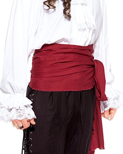Halloween Pirate Medieval Renaissance Linen Large Sash [Red] -
