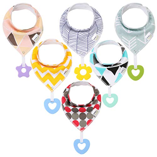 6-Pack Organic Super Absorbent Bandana Drool Bibs - Cotton Bibs BPA Free for Teething and Drooling Organic Cotton Baby Bibs for Infant &Toddler