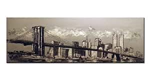Cuadro original en Lienzo de Nueva York - Manhattan y puente de Brooklyn (150x50 cm). Técnica mixta, con toques acrílicos que dan relieve a la obra.