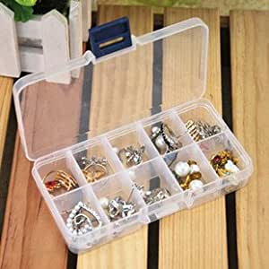 2 Pics 10 Slot DIY Plastic Jewelry Cosmetic Pill Adjustable Compartments Box Case Craft Organizer Storage Box