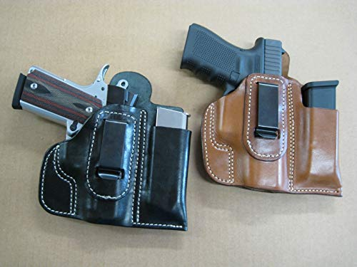 Azula Leather IWB Combo Holster and Mag Pouch CCW for Taurus G2C 9mm / .40 Pistol Black RH (Best Small 9mm For Ccw)