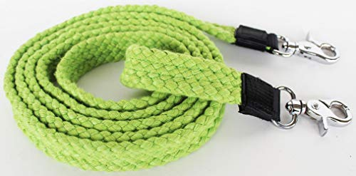 Pro Rider Horse Tack Soft Cotton Hand Braided Western Barrel Reins Lime Green - Tack Green