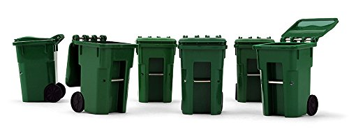 First Gear 1/34 Scale Plastic Collectible Green Trash Carts - Set of Six Carts (#90-0519)