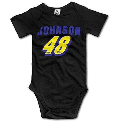HOTOU Baby Jimmie Johnson 48 Logo Unisex Short Sleeve T-Romper (6-24 Months) Black