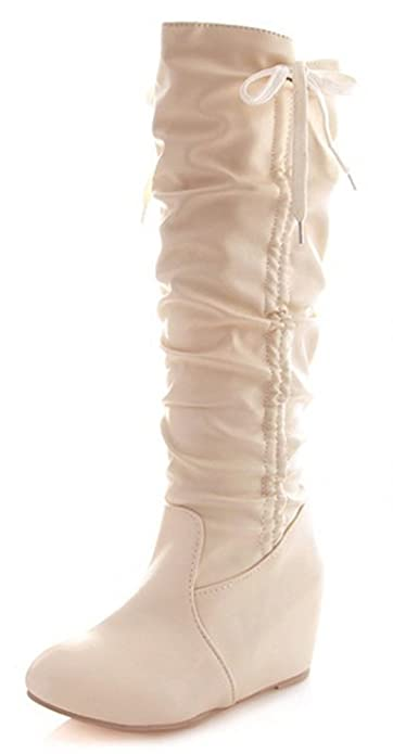 Women's Sweet Closed Toe Slouch Drawstring Heighten Pull On Ankle High Boots