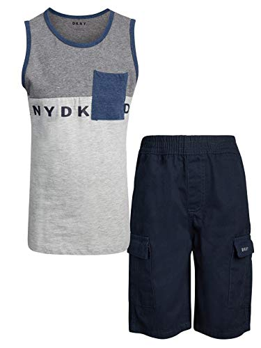 (DKNY Boys' 2-Piece Summer Tank Top and Cargo Short Set, Dress Blues, Size 6')