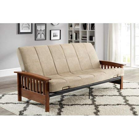 Better Homes and Gardens Neo Mission Futon, Brown. Solid Wood Arm Futon with Walnut Finish. from Better Homes & Gardens