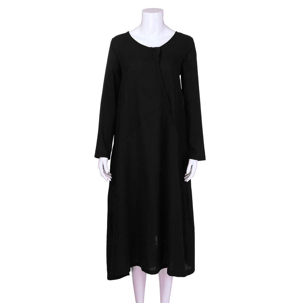 1338845e308 Amazon.com  Sinfu Plus Size Women Pure Color Pocket Cotton and Linen Loose Long  Dress  Clothing