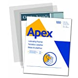 Apex Medium Laminating Pouches, Letter Size for 5ml Setting, 100 Per Pack - 5242901