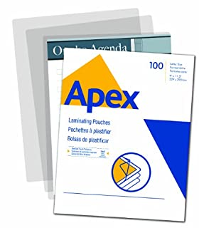 Apex Medium Laminating Pouches, Letter Size for 5ml Setting, 100 Per Pack (5242901) (B00FPB8L78) | Amazon price tracker / tracking, Amazon price history charts, Amazon price watches, Amazon price drop alerts