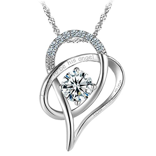 "Latigerf ""I used to be his angel now he's mine Charm Heart Pendant Necklace Sterling Silver Cubic Zirconia from Latigerf"
