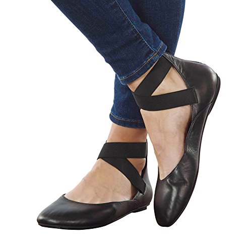 Women's Arabesque Black Leather Ballet Flats - Strappy Zip Backs - Size 40 by FLORIANA