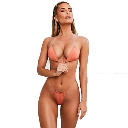 Mikilon Women's Thong Triangle Bikini Set Halter Side Tie Micro Swimsuit