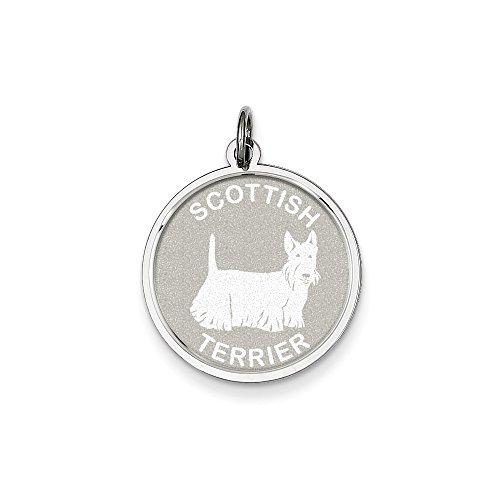 LavaFashion Sterling Silver Scottish Terrier Disc Charm Necklace, 18