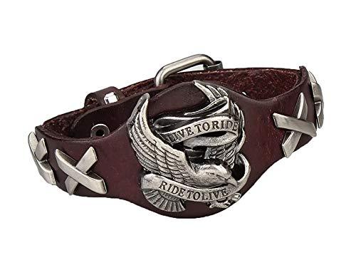 (Biker Bracelet Live to Ride Mens Bracelet(Brown))