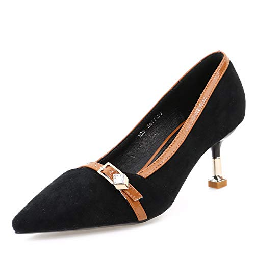 Diamond High GTVERNH Shoes 7Cm Shallow Women'S Sexy women's shoes Shoes Summer Fashion Black Pointy Coloring Buckles Heel And AppISOq
