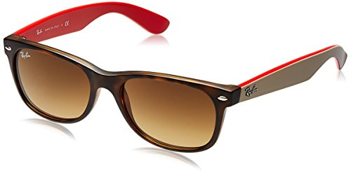Ray-Ban RB2132 New Wayfarer Non Polarized Sunglasses, Cyclamen/Black, Grey Gradient, 52 - Ray Wayfarer Brown Bans