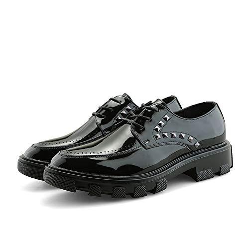 Hommes Cricket Cuir Easy En Oxford Go Noir chaussures De La Lacets Casual Shopping Eu color Verni Confortables Noir Chaussures Taille Rivet Décoration 37 À Mode Des wqrAqXWHa