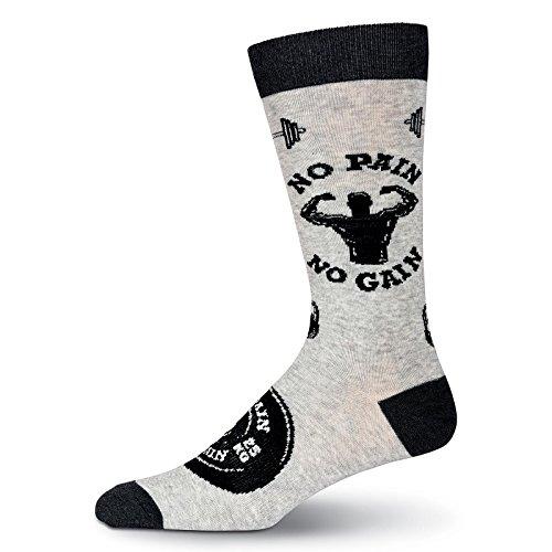 K. Bell Socks Men's Original Novelty Crew Socks (No Pain No Gain (Gray Heather), Shoe Size 6-12 / Sock Size - Novelty Mens