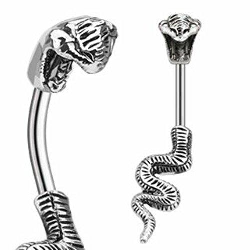 Body Accentz Belly Button Ring Poisonous Cobra Navel Ring Split Snake 14 Gauge 3/8