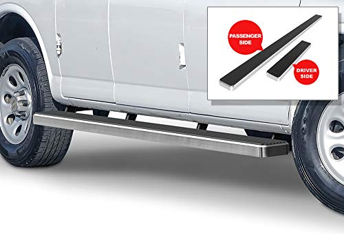 - APS iBoard Running Boards (Nerf Bars Side Steps Step Bars) Compatible with 2003-2019 Chevy Express GMC Savana 1500 2500 3500 Full Size Van (Silver Powder Coated 5 inches)