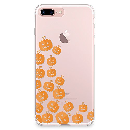 CasesByLorraine iPhone 8 Plus Case, iPhone 7 Plus Case, Halloween Cute Pumpkins Clear Transparent Case Flexible TPU Soft Gel Protective Cover for Apple iPhone 7 Plus & iPhone 8 Plus (P111)