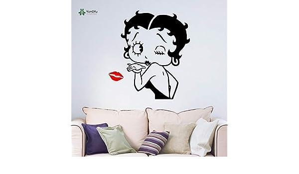 Tatuajes de pared Chica Labios Beso Decoración de la habitación ...