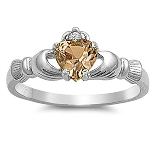 Oxford Diamond Co Sterling Silver Irish Claddagh Simulated Gemstone Promise Ring Available