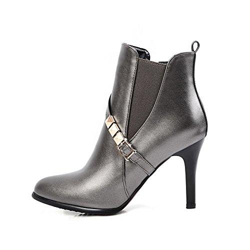 VogueZone009 Damen Hoher Absatz Weiches Material Niedrig-Spitze Rein Reißverschluss Stiefel Silber