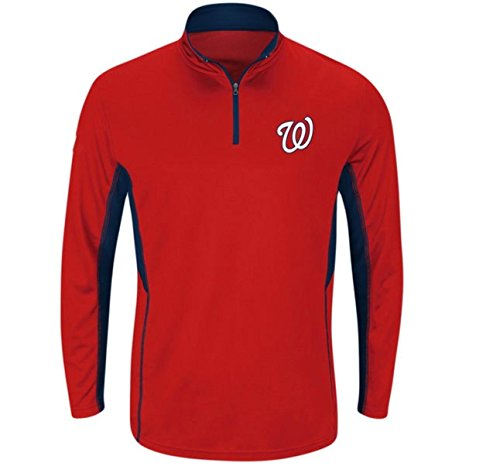 Washington Nationals Pullover - Profile Big & Tall Men's Washington Nationals Red Big & Tall Check Swing Performanc 1/4 Zip Pullover Fleece 2XLT