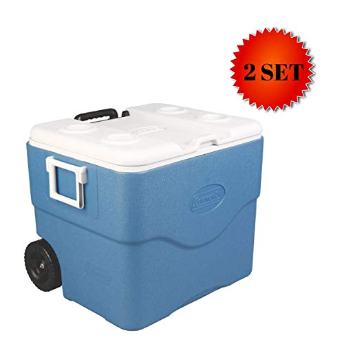 Coleman Xtreme Series Wheeled Cooler (75 Quart, Blue - 2 Set) (Coleman Xtreme 5 75 Quart Wheeled Cooler Blue)