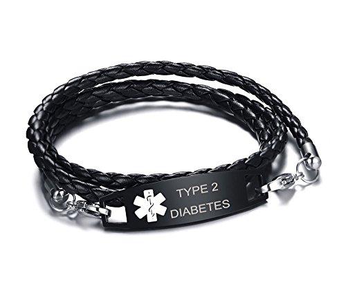 tes Multilayer Braided Leather Bangle Medical Alert ID Bracelet for Womens Mens ()