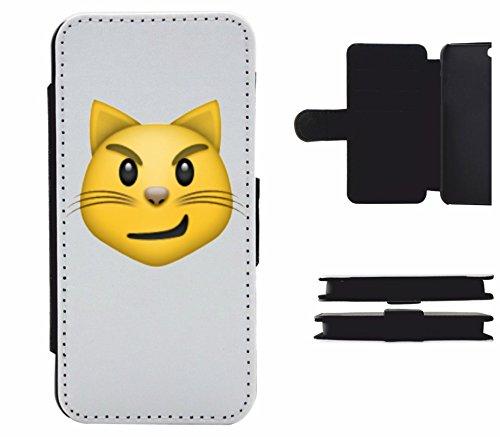 """Leder Flip Case Apple IPhone 5/ 5S/ SE """"Katzengesicht mit verwegenem Lächeln"""", der wohl schönste Smartphone Schutz aller Zeiten."""