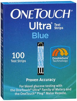 One Touch Ultra, Blue, Test Strips - 100 strips, Pack of 2