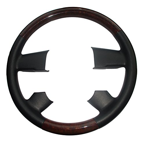 Pursuestar Black Leather Wood Steering Wheel Cover for 2004-2008 Ford F150 FX4 SuperCrew Heritage Lincoln Mark