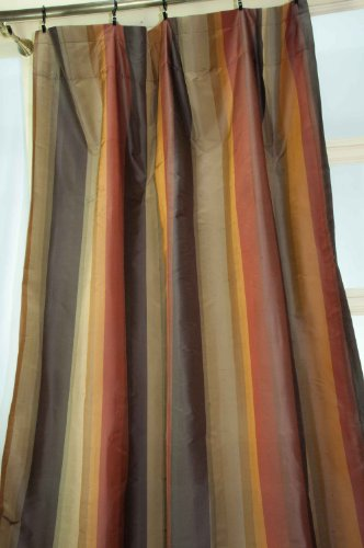 Rustic multi stirped silk curtain/drape/panel (52
