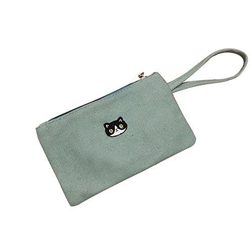 Cactus Lovely Cartoon Cat Corona lona mujer cartera tarjeta teléfono portafolios bolsa de embrague – amarillo, Verde...