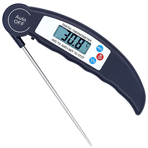 Meat Thermometer, Aessdcan Super Fast Instant Read Thermometer, Backlight and Calibration Food Thermometer for Food, Candy, Milk, Tea, BBQ, Outdoor and Kitchen Cooking