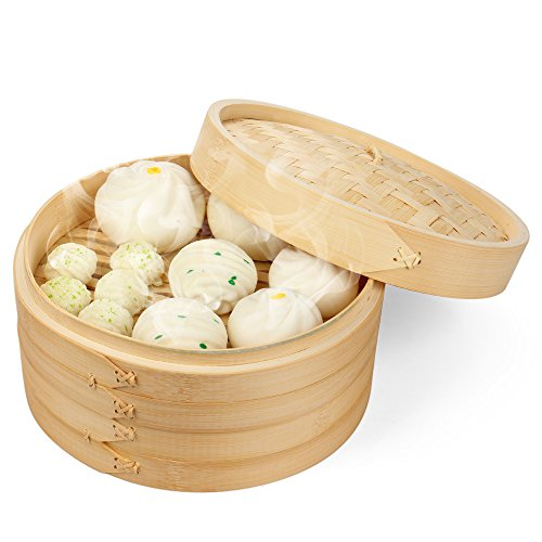 Flexzion Bamboo Steamer Basket Set 10 inch with 50x Steamer