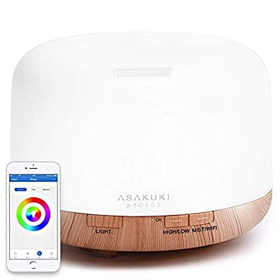 ASAKUKI Smart Wi-Fi Essential Oil Diffuser, App Control Compatible with Alexa, 2019 UPGRADE Design 500ml Aromatherapy Humidifier for Relaxing Atmosphere in Bedroom and Office-Better Sleeping&Breathing