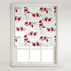 Red Poppy Script Thermal Blackout Roller Blinds Free Safety