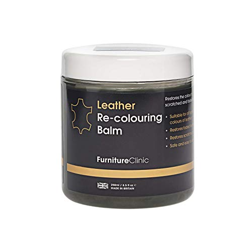Furniture Clinic Leather Recoloring Balm - Renew, Restore & Repair Color to Faded and Scratched Leather | 21 Color Choices, Works on Couches, Car Seats, Clothing & Purses - 8.5 Fl. Oz (Black)