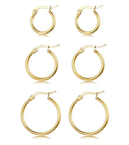 Sllaiss 3 Pairs Sterling Silver Round Hoop Earring for Women High Polished Click-Top Hoop Earring Lightweight Hypoallergenic 10-20MM ()