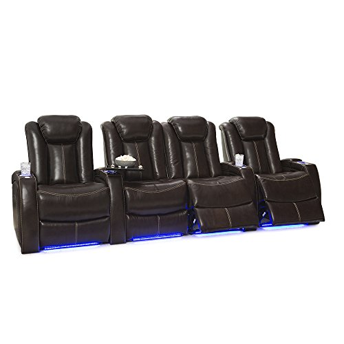 Seatcraft Delta Home Theater Seating Leather Power Recline, Powered Headrests, and Built-in SoundShaker (Row of 4 Center Loveseat, Brown)