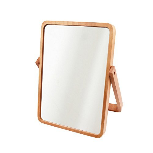 AlierKin Tabletop Vanity Makeup Mirror, Rectangle, Pine Wood by AlierKin