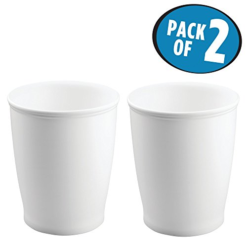 MetroDecor mDesign Round Shatter-Resistant Plastic Small Trash Can Wastebasket, Garbage Container Bin for Bathrooms, Kitchens, Home Offices, Dorm Rooms - Pack of 2, White (Waste Bins Plastic)