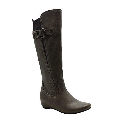 Angelina Womens Wide Calf Vegan Leather Knee-High Boot Grey CGRGCO