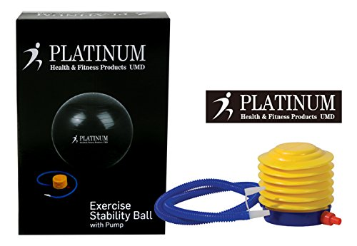 Platinum Health Unisex 2000lbs Static Strength Exercise/Yoga Fitness Stability Ball with Foot Pump (Black, 65 Centimeters)